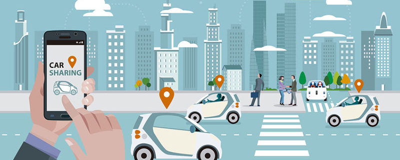 71752952 - man's hands with a smart phone with a car sharing app. roads with car sharing cars and people walking on the street. in the skyline