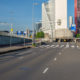 Rotterdam city cityscape skyline with empty road. South Holland, Netherlands.